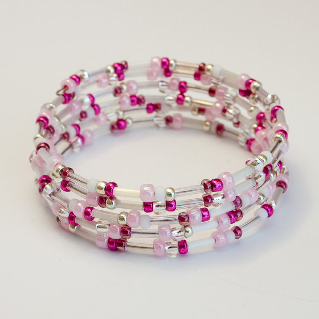 Multicoloured Pink Memory Wire Bracelet
