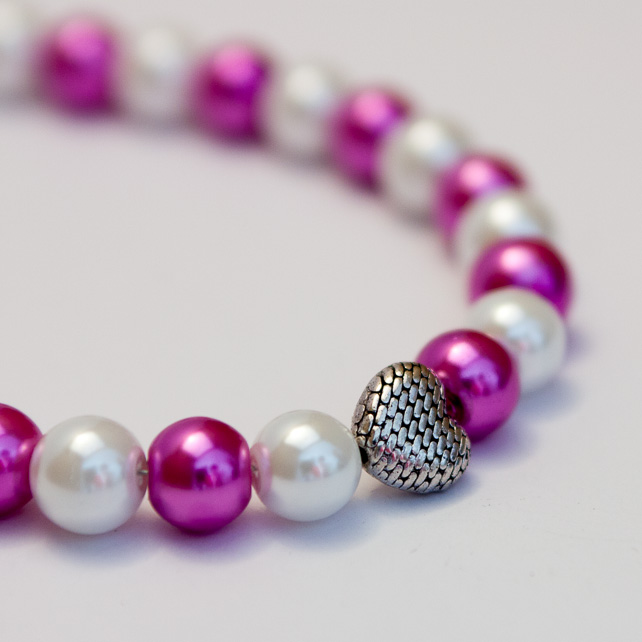 SALE! White and Pink Glass Pearl Necklace