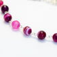 Modern Fuchsia Agate Necklace and Earring Set
