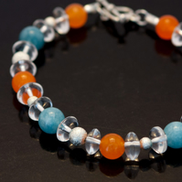 Blue Angelite and Orange Agate Bracelet