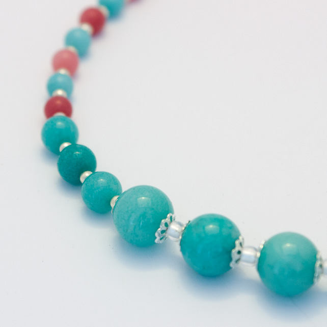 SALE! Blue and Pink Jade Necklace