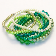 Set of Green Stack Bracelets