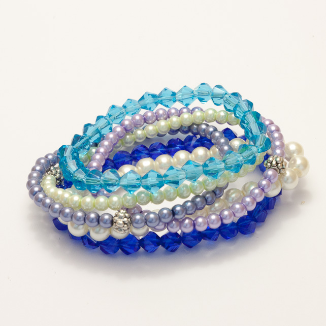Fun Blue Mixed Elasticated Bracelet