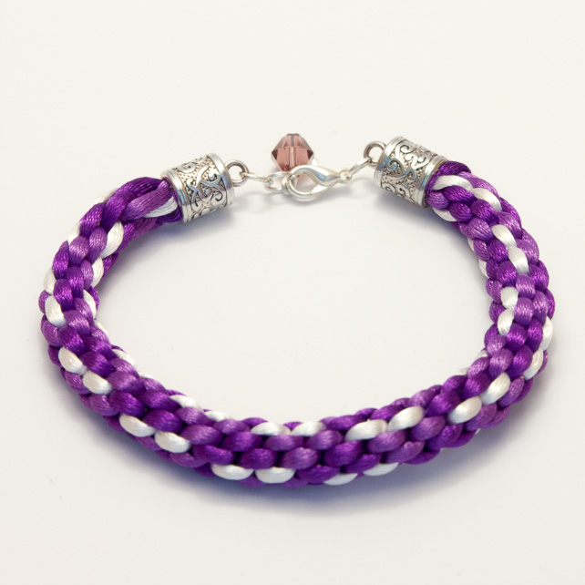 SALE! Purple and White Kumihimo Bracelet