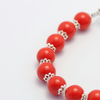 Lovely Red Glass Pearl Bracelet