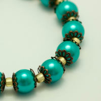 Green Glass Pearl Bracelet