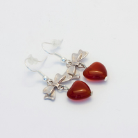 Silver Carnelian Ribbon Mother's Day Earrings