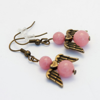Pink Jade Angel Earrings
