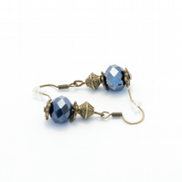 Navy Blue Crystal Earrings