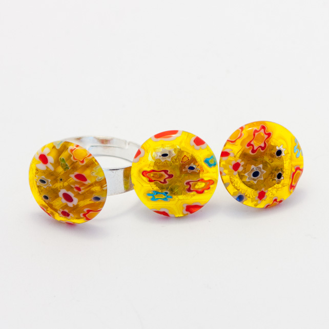 HALF PRICE! Yellow Millefiori Earrings and Ring Set