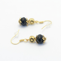 SALE! Black and Golden Glass Crystal Earrings