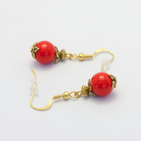 SALE! Red and Golden Earrings