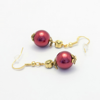Dark Red Glass Pearl Earrings