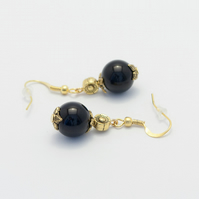 SALE! Black Glass Pearl Earrings