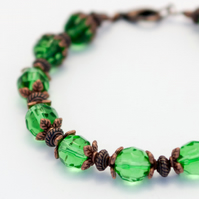 Green Glass Crystal and Copper Bracelet