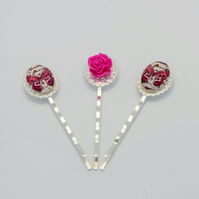 Pink Butterfly Bobby Pin Set