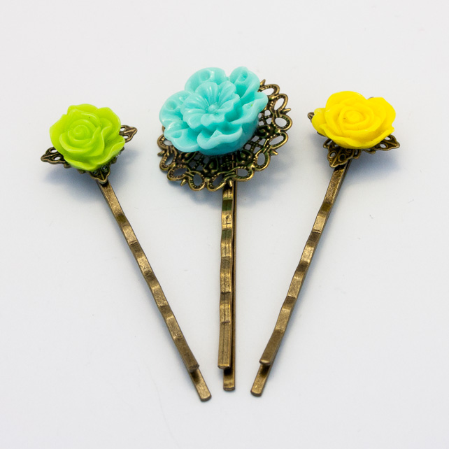 HALF PRICE! Green Tone Vintage Style Bobby Pin Set
