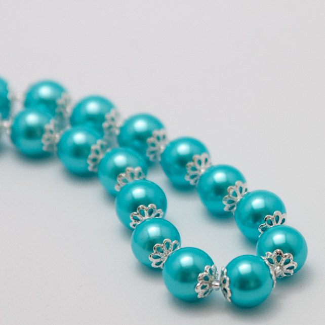 Light Blue Glass Pearl Necklace