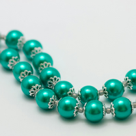 SALE! Green Glass Pearl Necklace