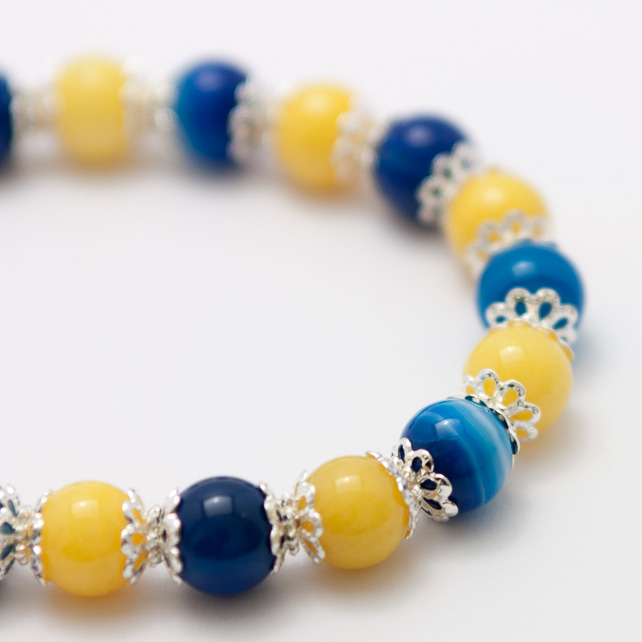 Yellow Jade and Blue Agate Bracelet