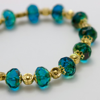 Vintage Emerald Czech Fire Polished Bead Bracelet