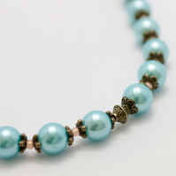SALE! Blue Glass Pearl Necklace