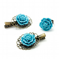 SALE! Light Blue Hair Accessories and Ring Set