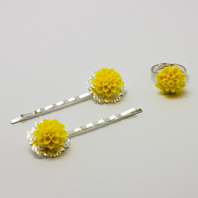 SALE! Yellow Hair Accessories and Ring Set