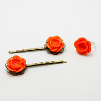 Bright Orange Hair Accessories and Ring Set