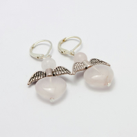 Rose Quartz Christmas Angel Earrings