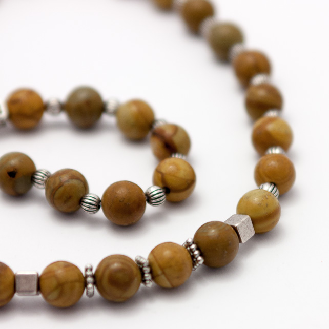 Men's Wooden Jasper Necklace