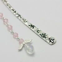 Pink Tibetan Silver Angel Charm Bookmark