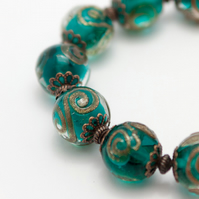 HALF PRICE! Emerald Green Glass Bracelet