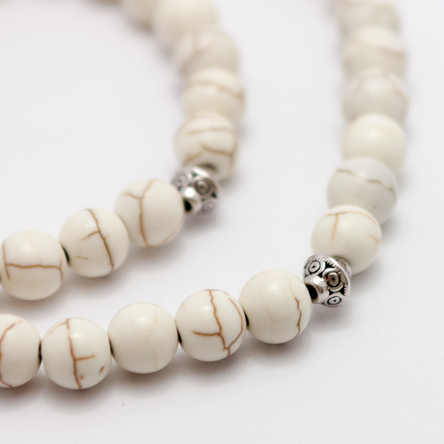 Men's White Howlite Necklace