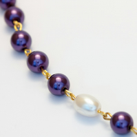 Purple Glass Pearls Necklace
