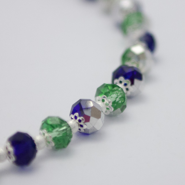 Electroplated Green and Cobalt Crystal Necklace