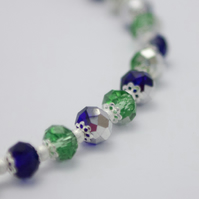 SALE! Electroplated Green and Cobalt Crystal Necklace