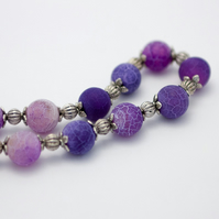Purple Frosted Agate Necklace
