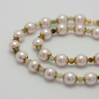Light Pink Glass Pearl Jewellery Set
