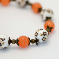 Flowery Orange Tone Porcelain Bracelet and Earrings Set