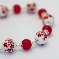 Flowery Red Porcelain Bracelet and Earrings Set