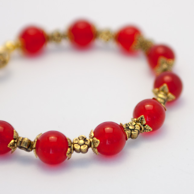 SALE! Cherry Red Mountain Jade Bracelet