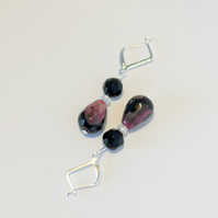 Purple, Black Agate and Swarovski Crystal Earrings