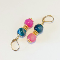 Blue and Pink Agate Earrings