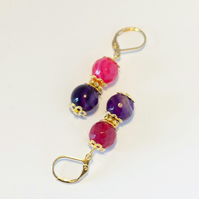 Pink and Purple Agate Earrings