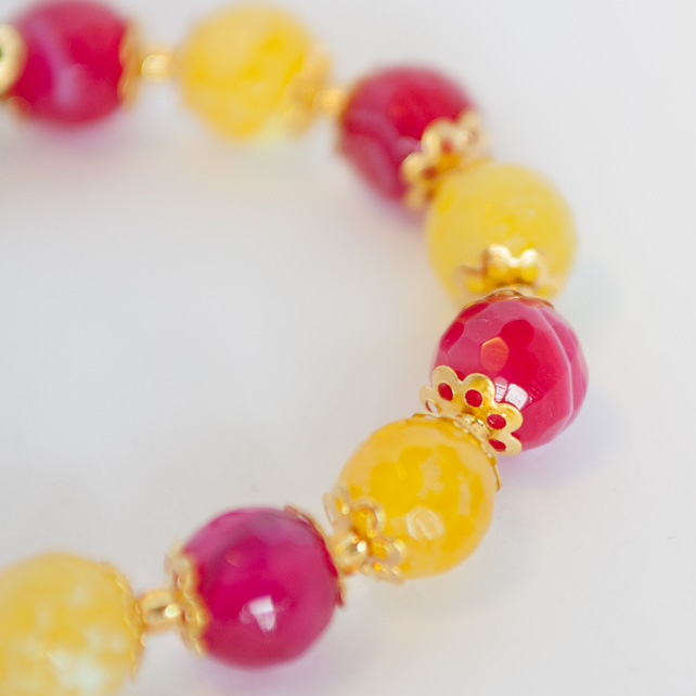 SALE! Hot Pink and Yellow Agate Bracelet