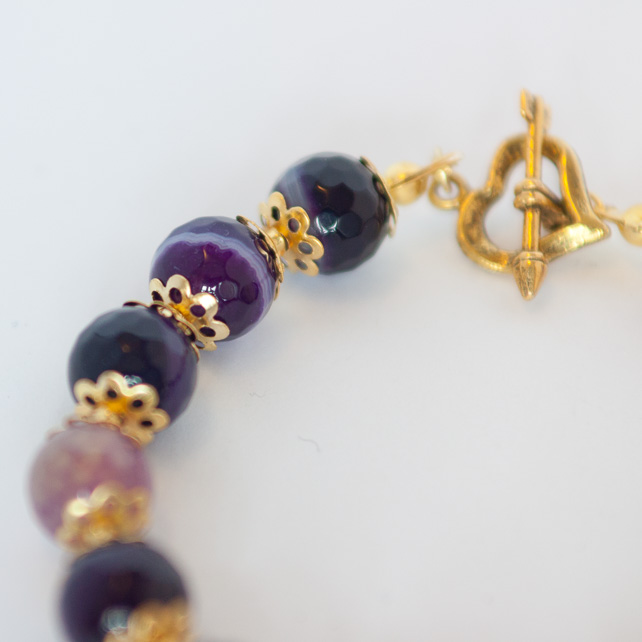 Purple and Lilac  Agate Bracelet