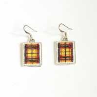 Macleod Tartan Earrings Cross Stitch Silver Frame Earrings