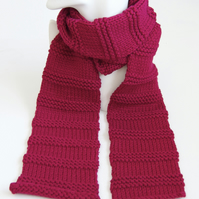 Raspberry Pink Knitted Scarf Ribbed Merino Wool