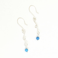 Sterling Silver Turquoise Earrings Blue Wire Wrapped Earrings